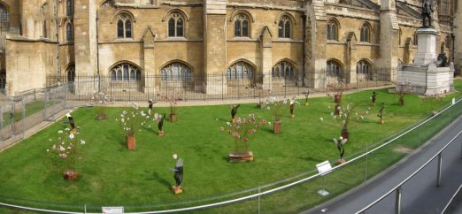 Ceramic flowers outside Westminster Palace