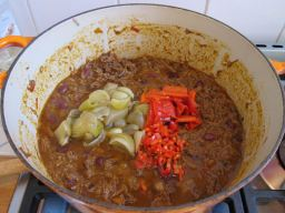 Finishing the chilli