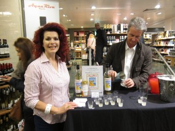 Shopping for tequila, I met Cleo Rocos and Stuart Freeman promoting AquaRiva