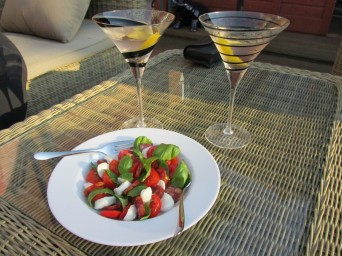 Salad and cocktails on the patio