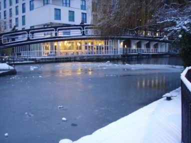 Bridge over frozen water.